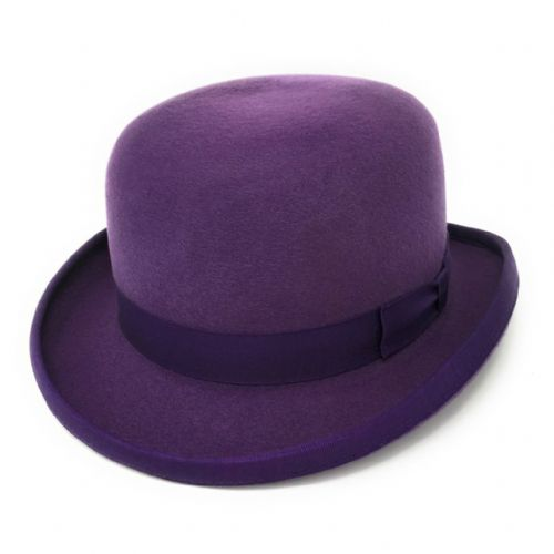 Purple Bowler Hat - Wool Felt